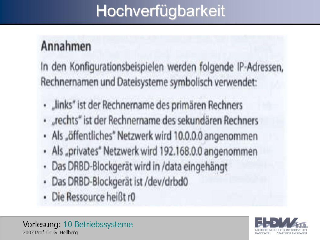 Vorlesung: 10 Betriebssysteme 2007 Prof. Dr. G. HellbergHochverfügbarkeit