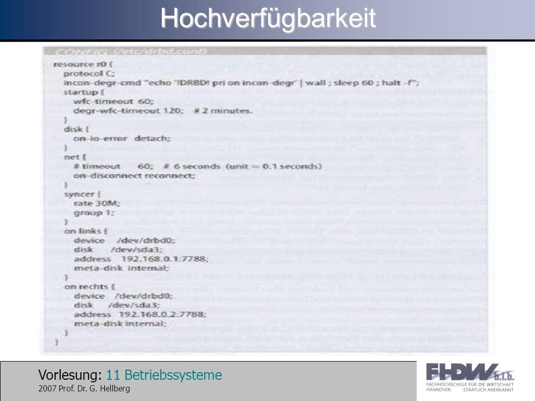Vorlesung: 11 Betriebssysteme 2007 Prof. Dr. G. HellbergHochverfügbarkeit