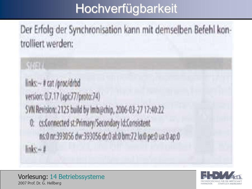 Vorlesung: 14 Betriebssysteme 2007 Prof. Dr. G. HellbergHochverfügbarkeit
