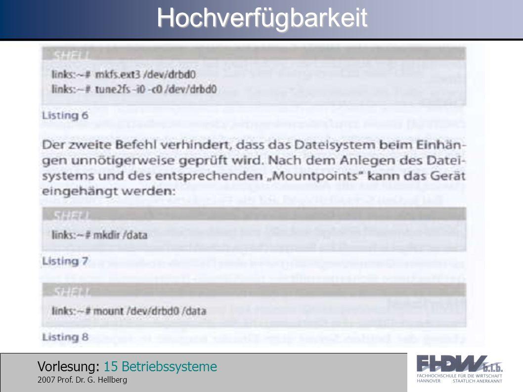Vorlesung: 15 Betriebssysteme 2007 Prof. Dr. G. HellbergHochverfügbarkeit