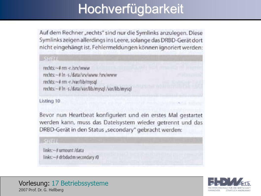 Vorlesung: 17 Betriebssysteme 2007 Prof. Dr. G. HellbergHochverfügbarkeit