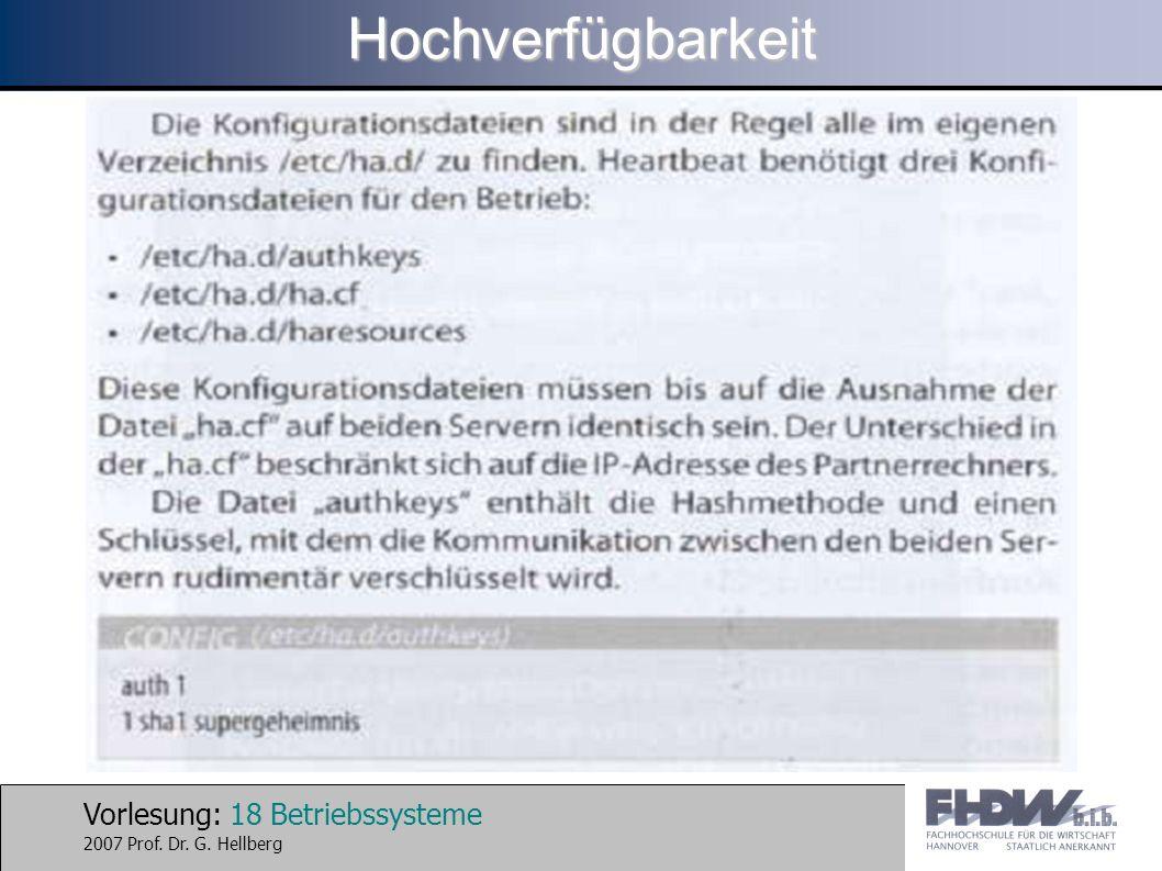 Vorlesung: 18 Betriebssysteme 2007 Prof. Dr. G. HellbergHochverfügbarkeit
