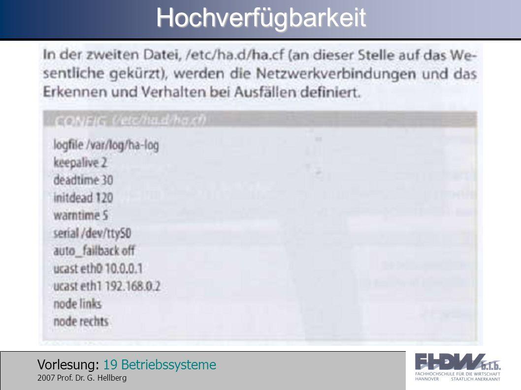 Vorlesung: 19 Betriebssysteme 2007 Prof. Dr. G. HellbergHochverfügbarkeit