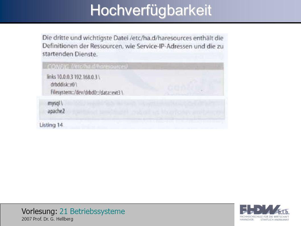 Vorlesung: 21 Betriebssysteme 2007 Prof. Dr. G. HellbergHochverfügbarkeit
