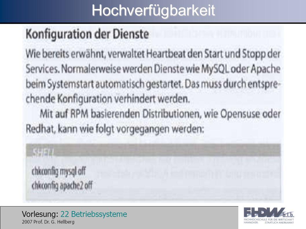 Vorlesung: 22 Betriebssysteme 2007 Prof. Dr. G. HellbergHochverfügbarkeit