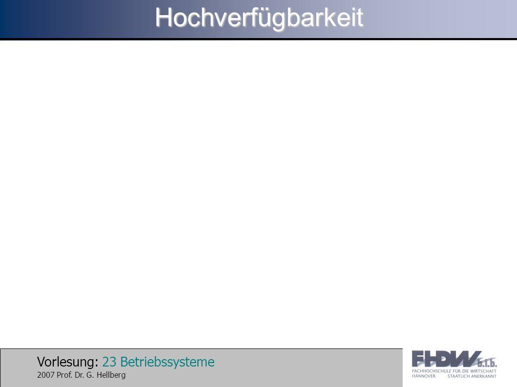 Vorlesung: 23 Betriebssysteme 2007 Prof. Dr. G. HellbergHochverfügbarkeit