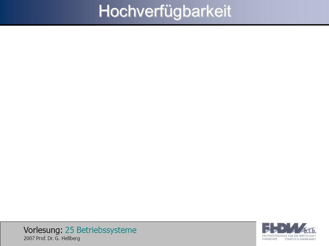 Vorlesung: 25 Betriebssysteme 2007 Prof. Dr. G. HellbergHochverfügbarkeit