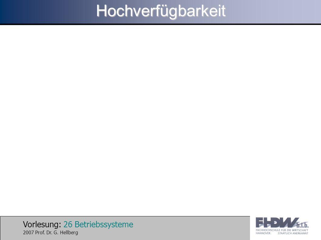 Vorlesung: 26 Betriebssysteme 2007 Prof. Dr. G. HellbergHochverfügbarkeit