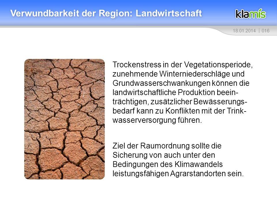 01618.01.2014 Verwundbarkeit der Region: Landwirtschaft Trockenstress in der Vegetationsperiode, zunehmende Winterniederschläge und Grundwasserschwank