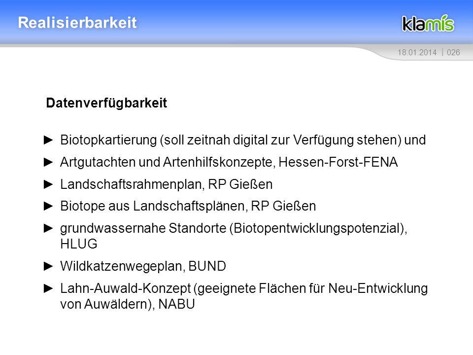 02618.01.2014 Realisierbarkeit Datenverfügbarkeit Biotopkartierung (soll zeitnah digital zur Verfügung stehen) und Artgutachten und Artenhilfskonzepte, Hessen-Forst-FENA Landschaftsrahmenplan, RP Gießen Biotope aus Landschaftsplänen, RP Gießen grundwassernahe Standorte (Biotopentwicklungspotenzial), HLUG Wildkatzenwegeplan, BUND Lahn-Auwald-Konzept (geeignete Flächen für Neu-Entwicklung von Auwäldern), NABU