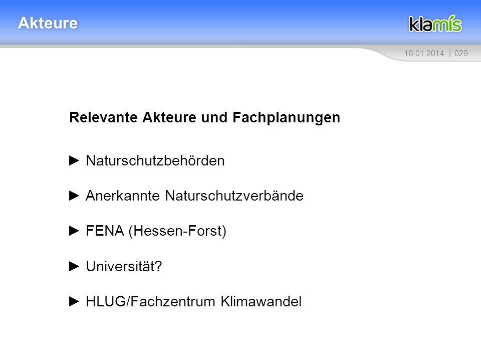 02918.01.2014 Akteure Relevante Akteure und Fachplanungen Naturschutzbehörden Anerkannte Naturschutzverbände FENA (Hessen-Forst) Universität? HLUG/Fac