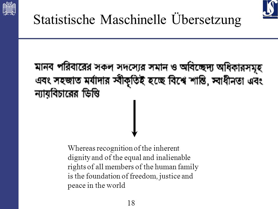18 Whereas recognition of the inherent dignity and of the equal and inalienable rights of all members of the human family is the foundation of freedom, justice and peace in the world Statistische Maschinelle Übersetzung