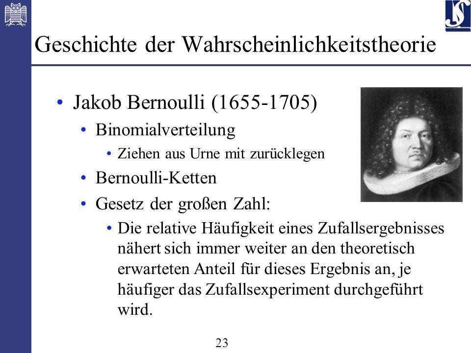 23 Geschichte der Wahrscheinlichkeitstheorie Jakob Bernoulli (1655-1705) Binomialverteilung Ziehen aus Urne mit zurücklegen Bernoulli-Ketten Gesetz der großen Zahl: Die relative Häufigkeit eines Zufallsergebnisses nähert sich immer weiter an den theoretisch erwarteten Anteil für dieses Ergebnis an, je häufiger das Zufallsexperiment durchgeführt wird.