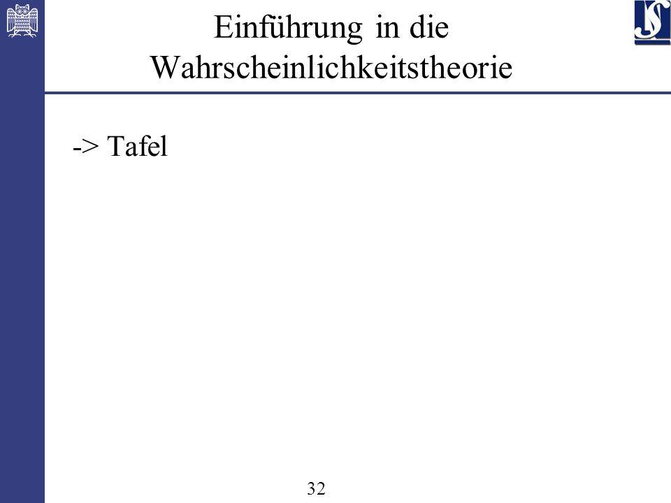 32 Einführung in die Wahrscheinlichkeitstheorie -> Tafel