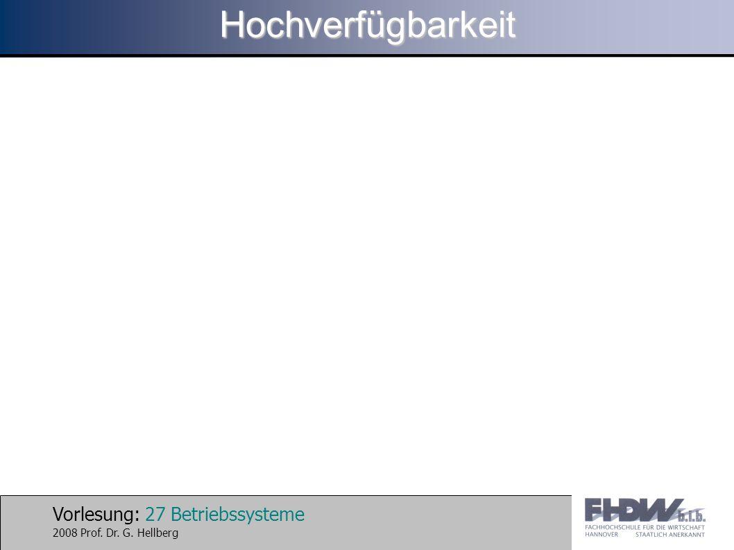 Vorlesung: 27 Betriebssysteme 2008 Prof. Dr. G. HellbergHochverfügbarkeit