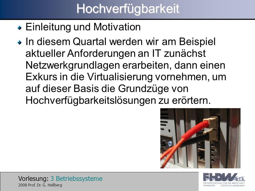 Vorlesung: 24 Betriebssysteme 2008 Prof. Dr. G. HellbergHochverfügbarkeit