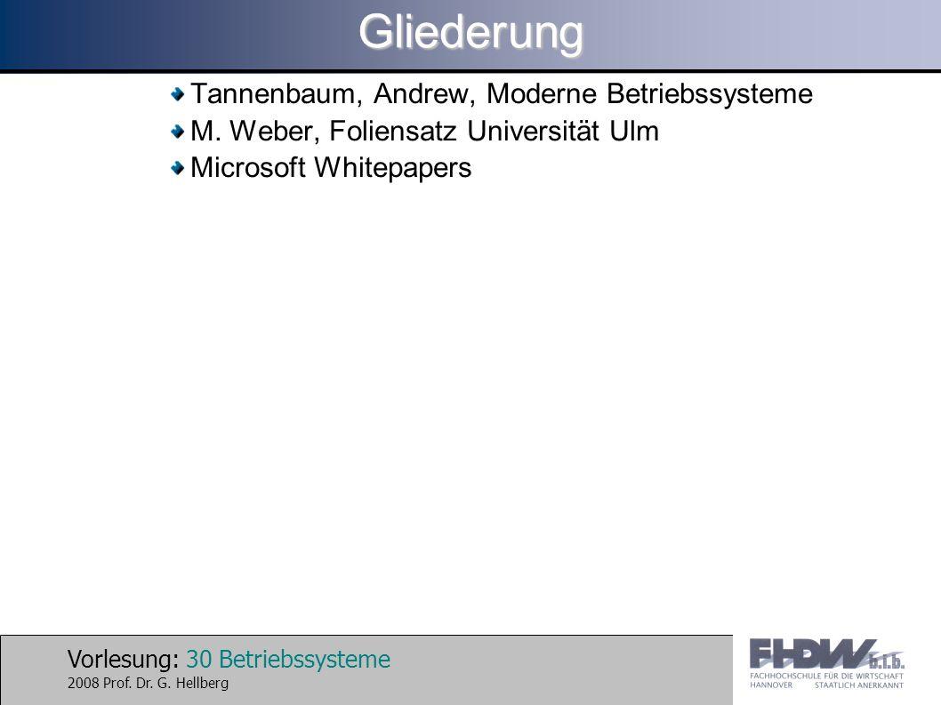 Vorlesung: 30 Betriebssysteme 2008 Prof. Dr. G.