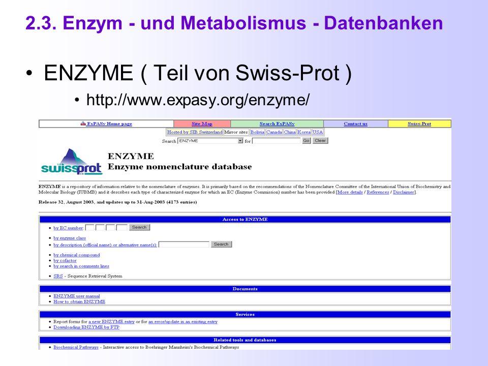 2.2. Proteindatenbanken (4) Entrez Protein ( am NCBI ) http://www.ncbi.nlm.nih.gov/entrez/query.fcgi?db=Protein