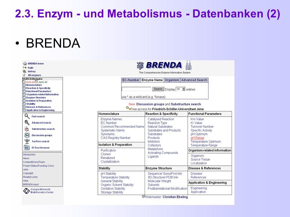 2.3. Enzym - und Metabolismus - Datenbanken ENZYME ( Teil von Swiss-Prot ) http://www.expasy.org/enzyme/