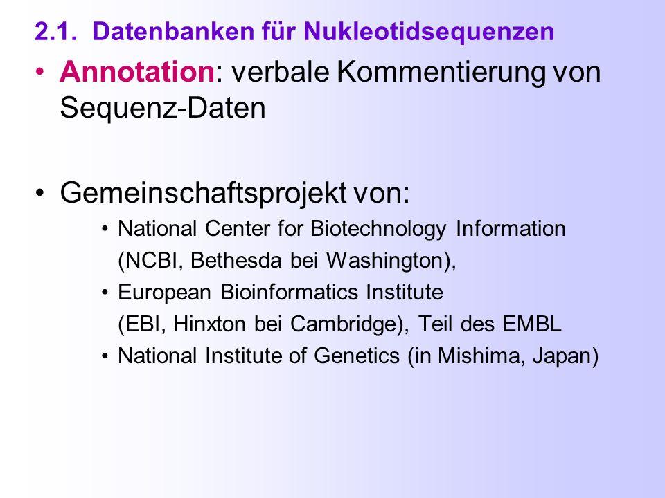 Inhaltsverzeichnis 2.1. Datenbanken für Nukleotidsequenzen 2.2.
