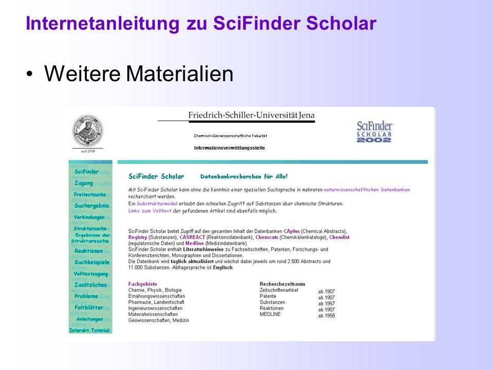 SciFinder Scholar für Bioinformatiker SciFinder Scholar im Fachinformationsportal