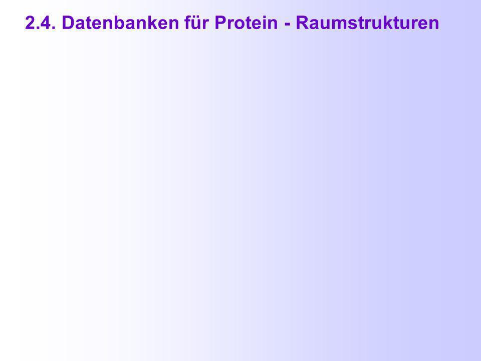 2.4. Datenbanken für Protein - Raumstrukturen PDB = Protein Data Bank http://www.resp.org/pdb