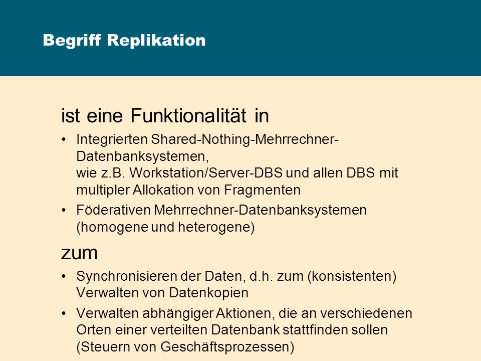 SQL Remote: Publisher und Subscriber Publication definiert die zu replizierenden Daten Subscription definiert das Replikationsziel Bi-direktionale Replikation Subscribe Publish