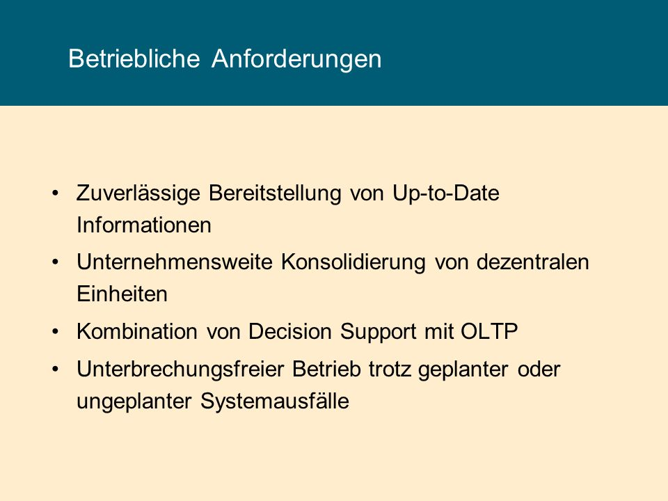 Replication Server - Komponenten Replication Agent Liest das Transactions-Log des Primärortes Übergibt committed transactions in der Reihenfolge ihrer Verarbeitung an den Replication Server.