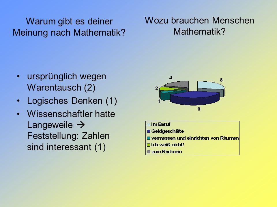 Wozu brauchen Menschen Mathematik? Warum gibt es deiner Meinung nach Mathematik? ursprünglich wegen Warentausch (2) Logisches Denken (1) Wissenschaftl