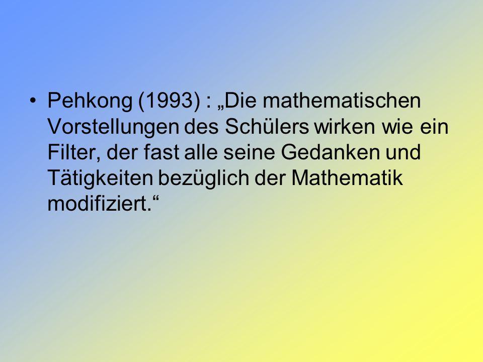 Pehkong (1993) : Die mathematischen Vorstellungen des Schülers wirken wie ein Filter, der fast alle seine Gedanken und Tätigkeiten bezüglich der Mathe