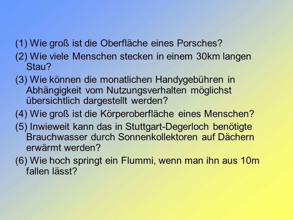 (1) Wie groß ist die Oberfläche eines Porsches? (2) Wie viele Menschen stecken in einem 30km langen Stau? (3) Wie können die monatlichen Handygebühren