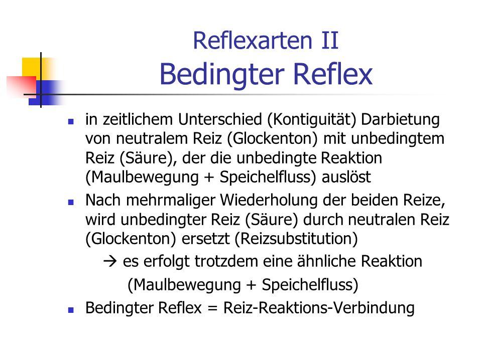 Reflexarten II Bedingter Reflex in zeitlichem Unterschied (Kontiguität) Darbietung von neutralem Reiz (Glockenton) mit unbedingtem Reiz (Säure), der d