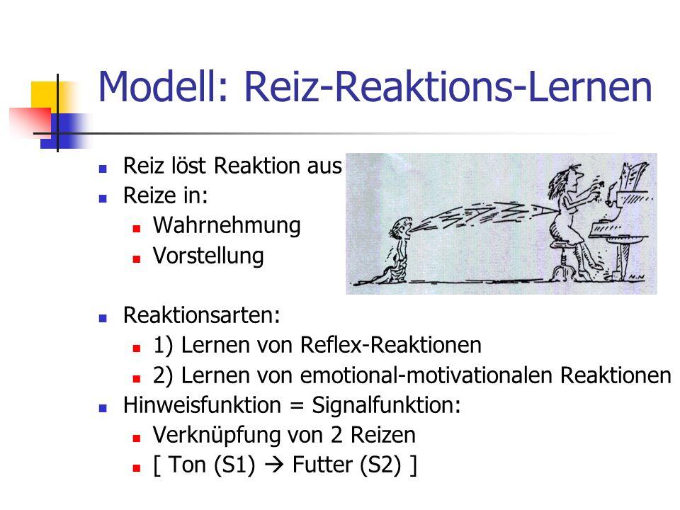 Modell: Reiz-Reaktions-Lernen Reiz löst Reaktion aus Reize in: Wahrnehmung Vorstellung Reaktionsarten: 1) Lernen von Reflex-Reaktionen 2) Lernen von e