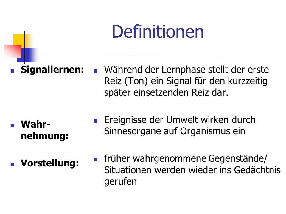 Definitionen Signallernen: Wahr- nehmung: Vorstellung: Während der Lernphase stellt der erste Reiz (Ton) ein Signal für den kurzzeitig später einsetze