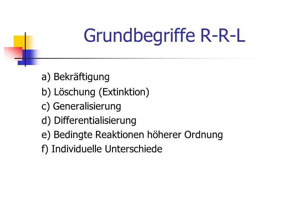 Grundbegriffe R-R-L a) Bekräftigung b) Löschung (Extinktion) c) Generalisierung d) Differentialisierung e) Bedingte Reaktionen höherer Ordnung f) Indi