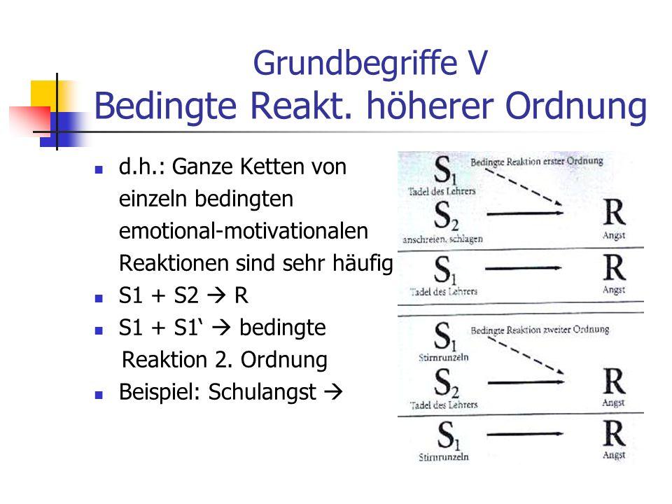Grundbegriffe V Bedingte Reakt. höherer Ordnung d.h.: Ganze Ketten von einzeln bedingten emotional-motivationalen Reaktionen sind sehr häufig S1 + S2