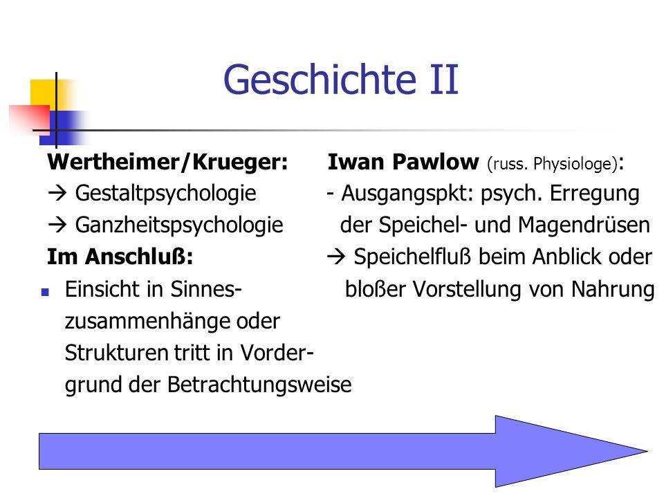 Geschichte II Wertheimer/Krueger: Iwan Pawlow (russ. Physiologe) : Gestaltpsychologie - Ausgangspkt: psych. Erregung Ganzheitspsychologie der Speichel