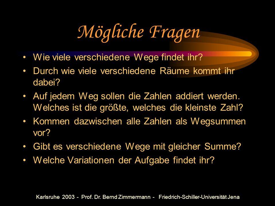 Karlsruhe 2003 - Prof. Dr. Bernd Zimmermann - Friedrich-Schiller-Universität Jena Bsp. 4: Wanderungen im Zahlenhaus Vgl. MN5, S. 93, Ü. 18