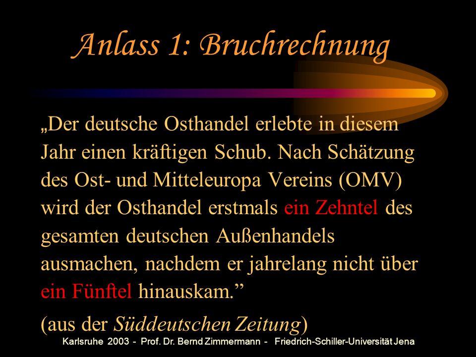 Karlsruhe 2003 - Prof. Dr. Bernd Zimmermann - Friedrich-Schiller-Universität Jena Anlässe zum Nachdenken über mathematisches Denken