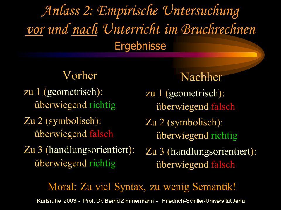 Karlsruhe 2003 - Prof. Dr. Bernd Zimmermann - Friedrich-Schiller-Universität Jena Anlass 2: Empirische Untersuchung vor und nach Unterricht im Bruchre
