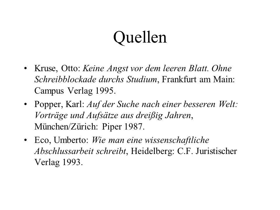 Quellen Kruse, Otto: Keine Angst vor dem leeren Blatt.