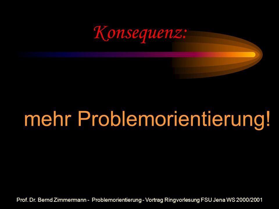 Prof. Dr. Bernd Zimmermann - Problemorientierung - Vortrag Ringvorlesung FSU Jena WS 2000/2001 TIMSS - aktuell!! Thema verfehlt, Sechs! Schlechte Note