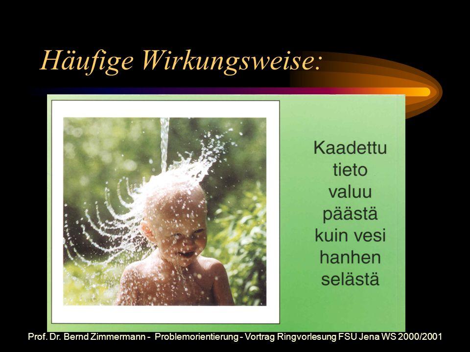 Prof. Dr. Bernd Zimmermann - Problemorientierung - Vortrag Ringvorlesung FSU Jena WS 2000/2001 Wissenstransfergemäß älteren Vorstellungen:
