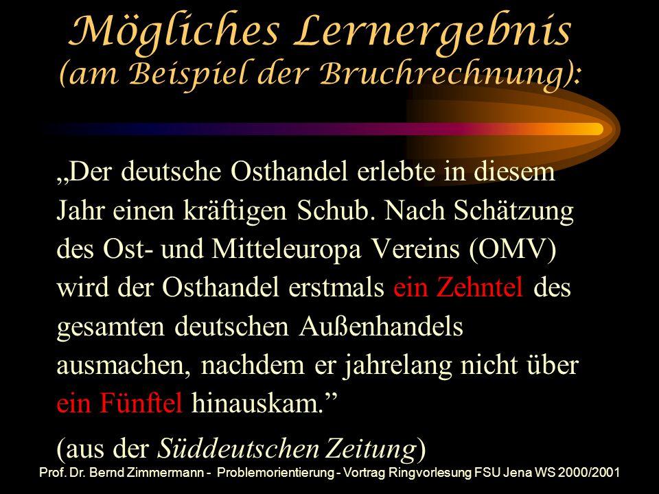 Prof. Dr. Bernd Zimmermann - Problemorientierung - Vortrag Ringvorlesung FSU Jena WS 2000/2001 Häufige Wirkungsweise: