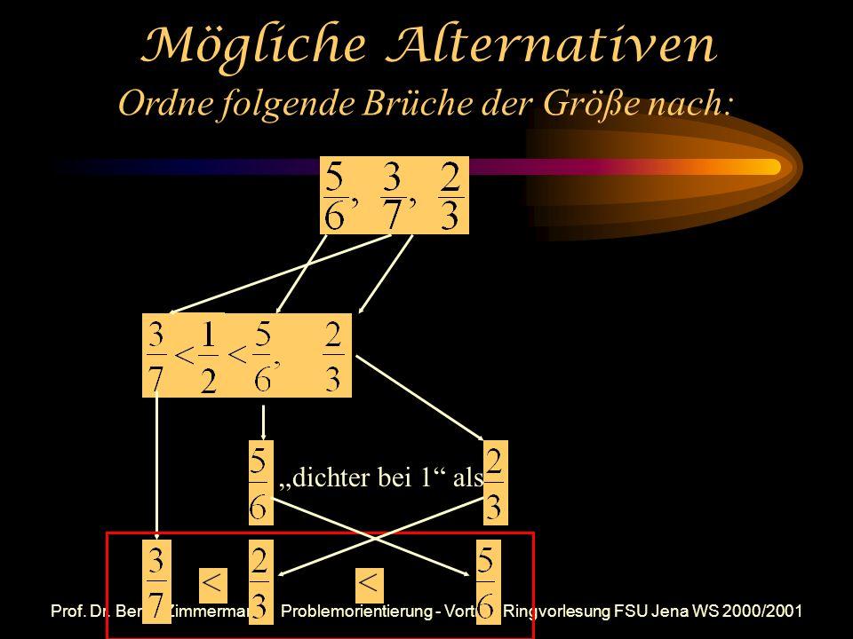 Prof. Dr. Bernd Zimmermann - Problemorientierung - Vortrag Ringvorlesung FSU Jena WS 2000/2001 Mögliches Lernergebnis (am Beispiel der Bruchrechnung):