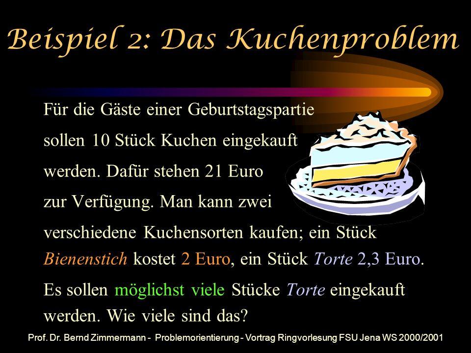 Prof. Dr. Bernd Zimmermann - Problemorientierung - Vortrag Ringvorlesung FSU Jena WS 2000/2001 Mögliche Alternativen dichter bei 1 als Ordne folgende