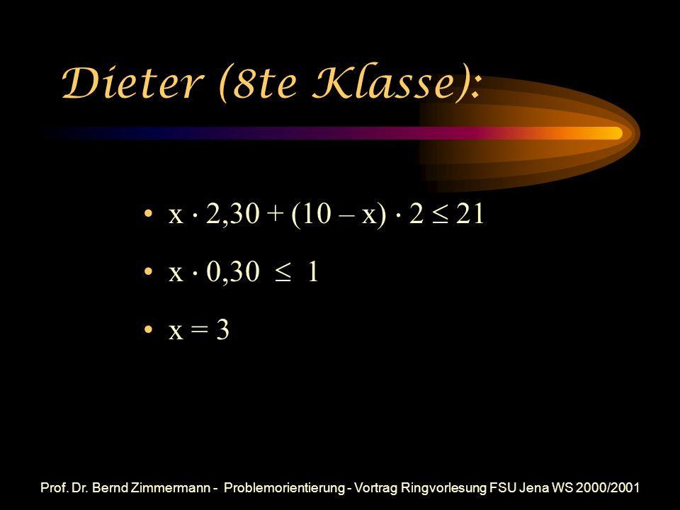 Prof. Dr. Bernd Zimmermann - Problemorientierung - Vortrag Ringvorlesung FSU Jena WS 2000/2001 Aki (8te Klasse): Torte BienenstichSumme Stück Kosten S