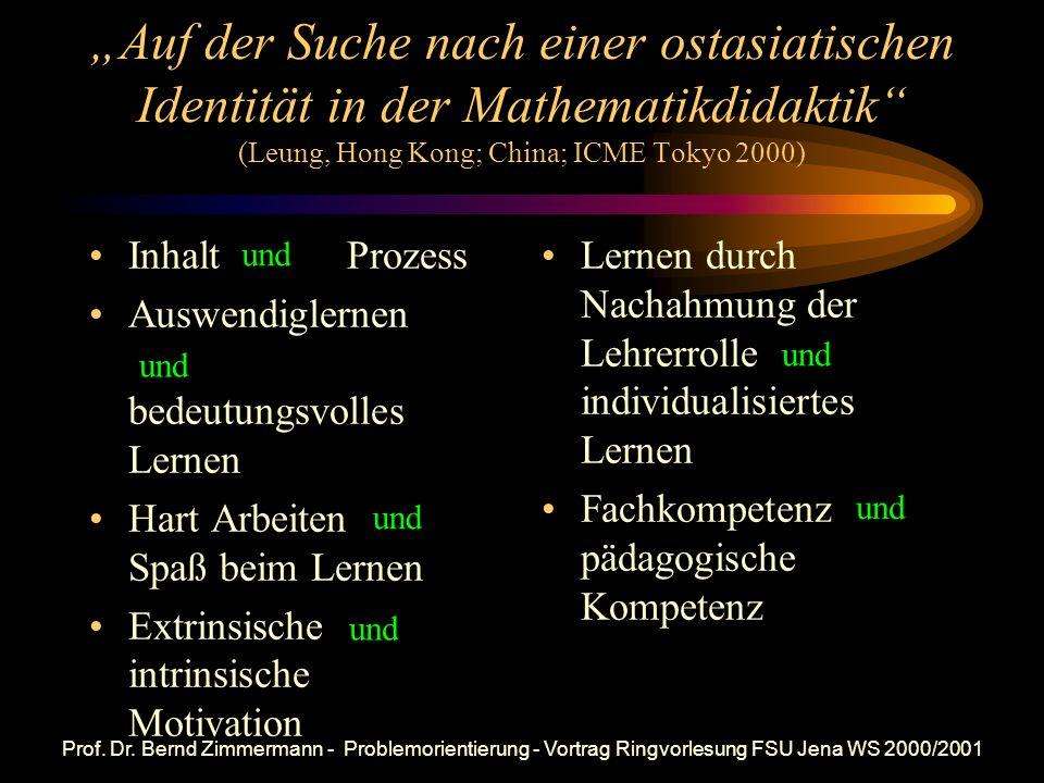 Prof. Dr. Bernd Zimmermann - Problemorientierung - Vortrag Ringvorlesung FSU Jena WS 2000/2001 Wohin? Vergleich von Wertesystemen