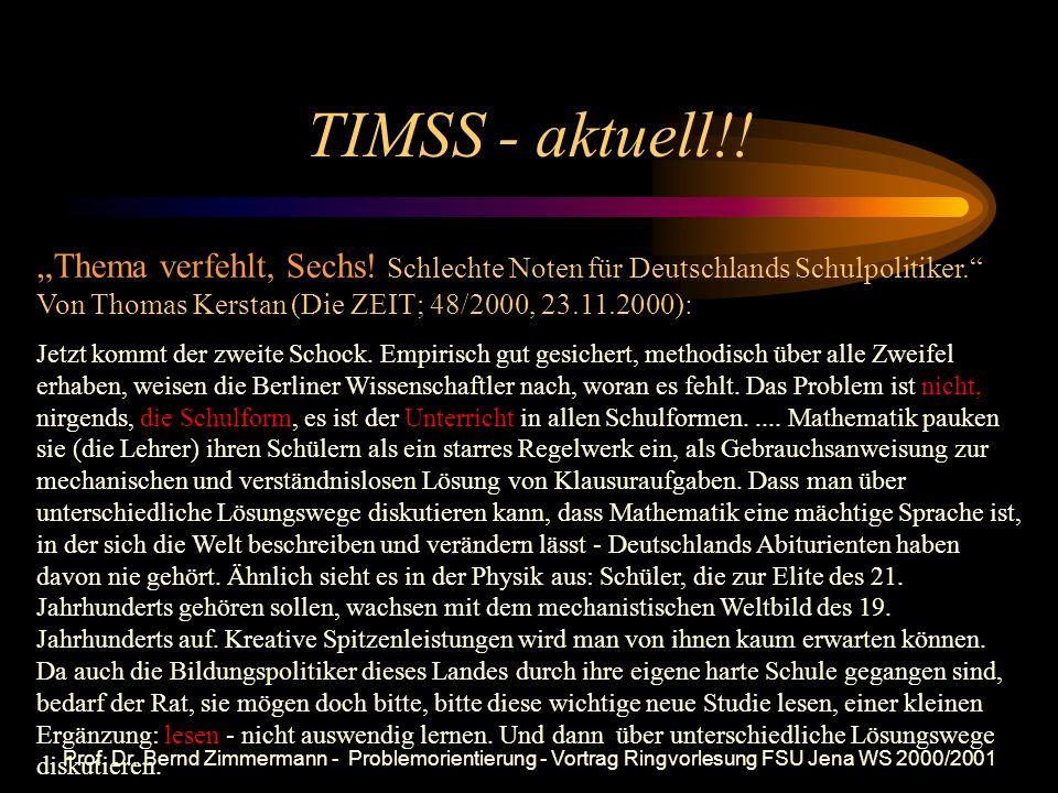 Prof. Dr. Bernd Zimmermann - Problemorientierung - Vortrag Ringvorlesung FSU Jena WS 2000/2001 Vergleich der jeweils besten 10% im TIMSS-Mathematiktes