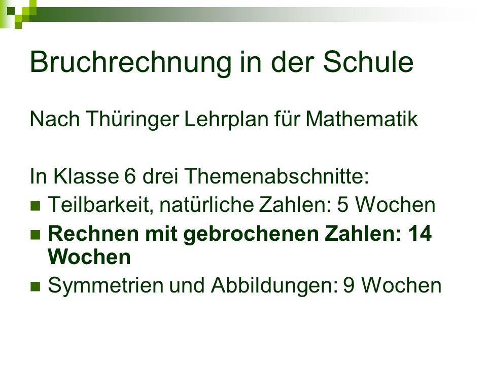 Bruchrechnung in der Schule Nach Thüringer Lehrplan für Mathematik In Klasse 6 drei Themenabschnitte: Teilbarkeit, natürliche Zahlen: 5 Wochen Rechnen